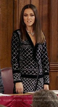 Eleanor's black studded velvet jacket dress on The Royals