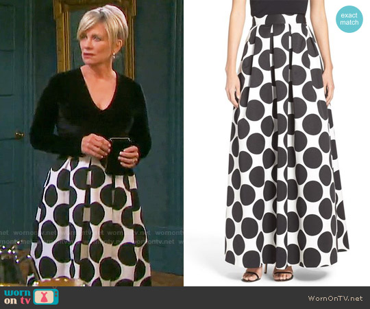 Eliza J Pleat Polka Dot Faille Ball Skirt worn by Mary Beth Evans on Days of our Lives