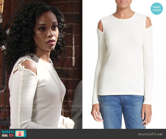 Elizabeth and James Ryan Tie Cold Shoulder Sweater worn by Mishael Morgan on The Young & the Restless