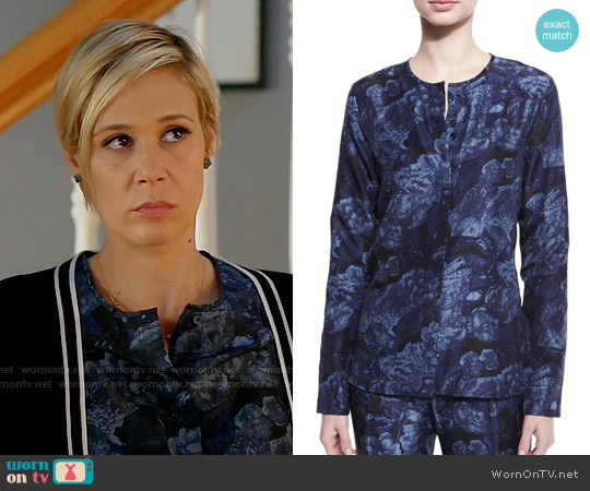 Elizabeth & James Davidson Floral Silk Blouse worn by Liza Weil on HTGAWM