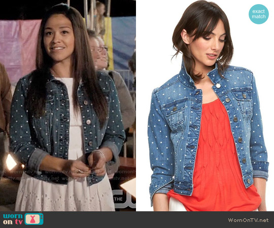 Elle Polka Dot Jean Jacket worn by Jane Villanueva (Gina Rodriguez) on Jane the Virgin