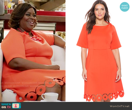 Eloquii Laser Cut Hem Fit and Flare Dress worn by Retta on GG2D