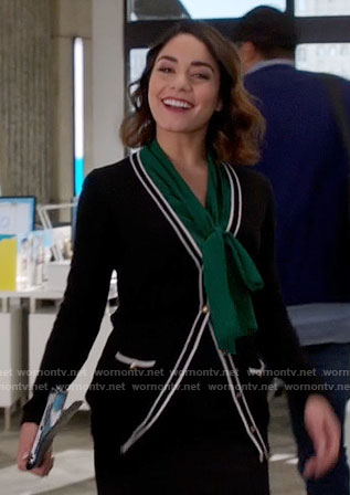 Emily's green bow neck blouse and striped trim cardigan on Powerless