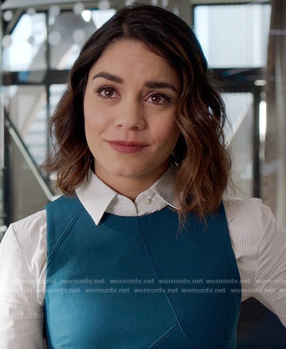 Emily's teal sleeveless dress on Powerless