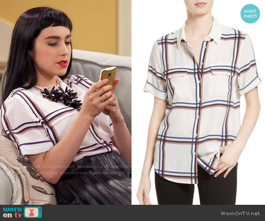 Equipment Slim Signature Silk Shirt in Plaid worn by Mandy Baxter ( Molly Ephraim) on Last Man Standing