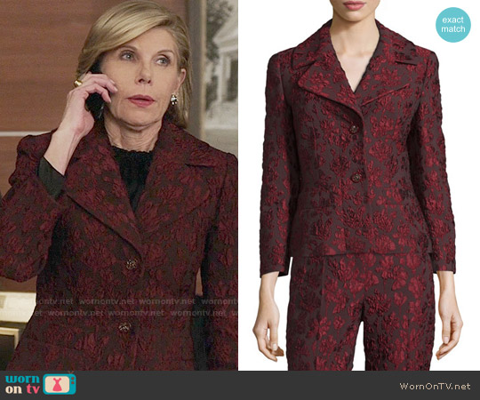 Escada 3/4-Sleeve Two-Button Jacquard Jacket worn by Diane Lockhart (Christine Baranski) on The Good Fight