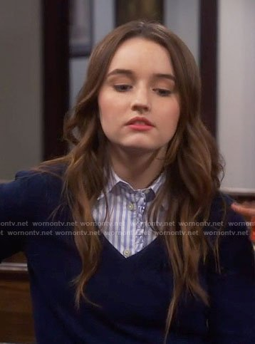 Eve's blue striped ruffle trim shirt on Last Man Standing