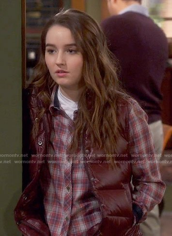 Eve's plaid shirt and burgundy vest on Last Man Standing