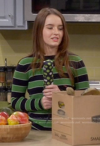 Eve's green striped sweater on Last Man Standing