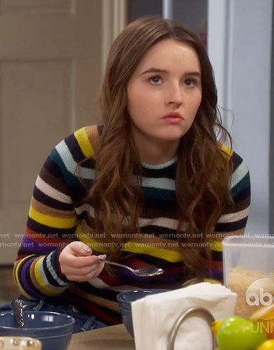 Eve's multicolored stripe sweater on Last Man Standing