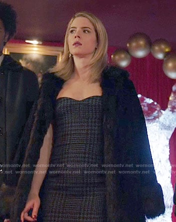 Felicity's houndstooth dress and fur coat on Arrow