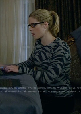 Felicity's grey zebra print sweater on Arrow