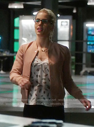 Felicity's feather print top and pink bomber jacket on Arrow