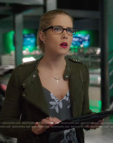 Felicity's grey floral top and green textured jacket on Arrow