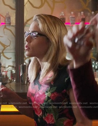 Felicity's rose print dress on Arrow