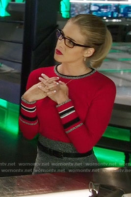 Felicity's red sweater with striped cuffs on Arrow