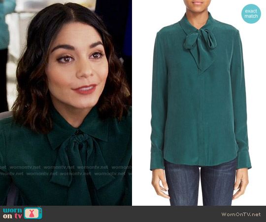 FRAME Tie Neck Silk Blouse worn by Vanessa Hudgens on Powerless