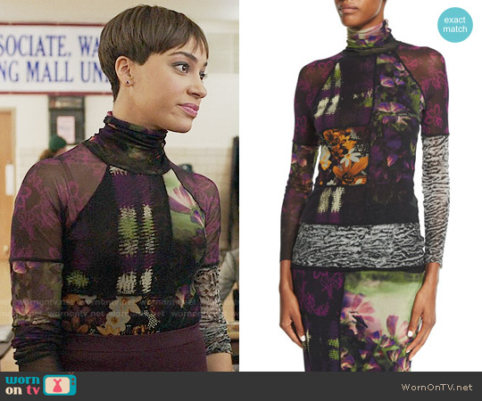 Fuzzi Mixed-Print Long-Sleeve Turtleneck worn by Cush Jumbo on The Good Fight