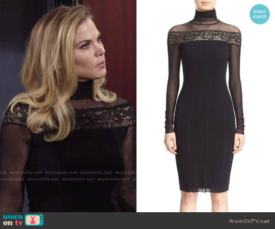 Fuzzi Sheer Lace Trim Tulle Turtleneck Dress worn by Phyllis Newman (Gina Tognoni) on The Young & the Restless
