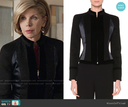 Giorgio Armani Zip-Front Fitted Combo Jacket worn by Christine Baranski on The Good Fight