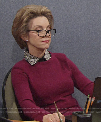 Gloria's pink sweater with beaded collar on The Young and the Restless