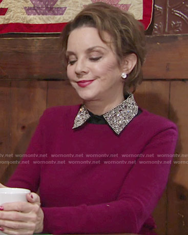 Gloria's purple sweater with beaded collar on The Young and the Restless