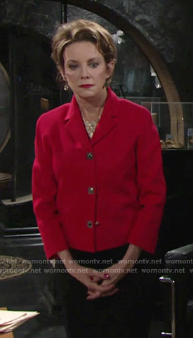 Gloria's red jacket with gold buttons on The Young and the Restless