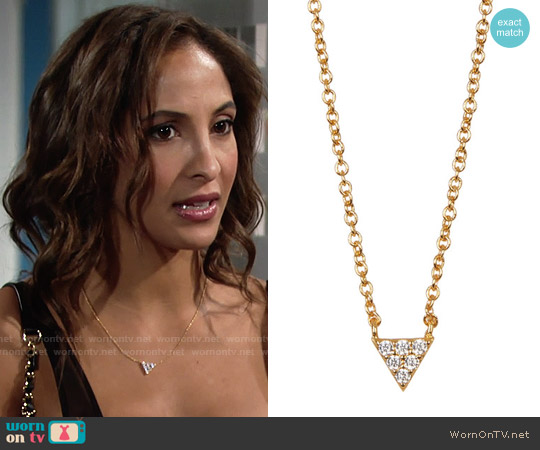 Gorjana Shimmer CZ Triangle Pendant Necklace worn by Lily Winters (Christel Khalil) on The Young & the Restless