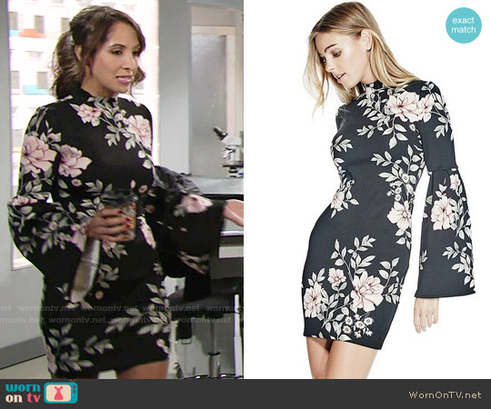 Guess Luba Dress in Blushing Rose Jet Black worn by Christel Khalil on The Young & the Restless