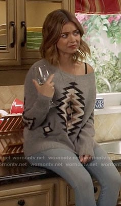 Haley's grey printed sweater on Modern Family