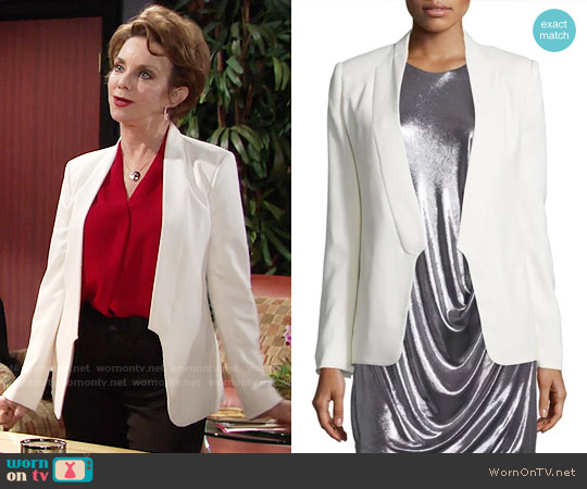 Halston Heritage Long Slim Tuxedo Jacket w/ Satin Lapel worn by Gloria Abbott Bardwell (Judith Chapman) on The Young & the Restless