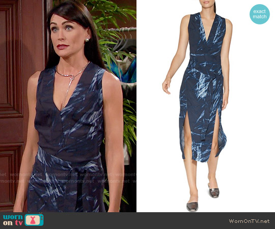 Halston Heritage Printed Double-Slit Dress worn by Rena Sofer on The Bold & the Beautiful