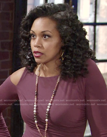 Hilary's purple top with cutout shoulder and tassel necklace on The Young and the Restless