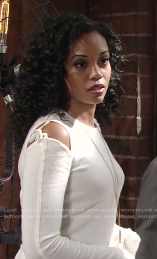 Hilary's white cold shoulder sweater with ties on The Young and the Restless