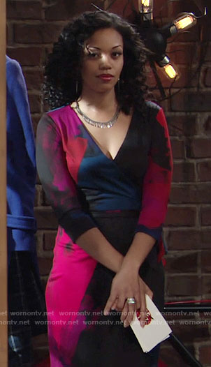 Hilary's printed wrap dress on The Young and the Restless