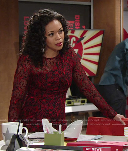 Hilary's red lace long sleeved dress on The Young and the Restless