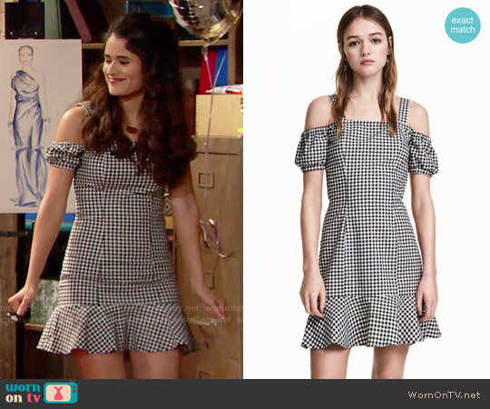 H&M  Off-the-shoulder Dress in Black / White / Checked worn by Danube Hermosillo on The Bold & the Beautiful