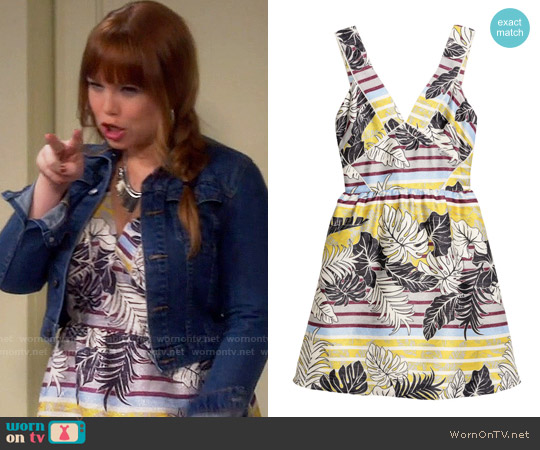 H&M Patterned Dress in Nature White / Leaf worn by Amanda Fuller on Last Man Standing