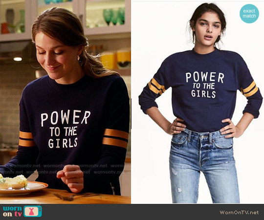 H&M Dark Blue Sweatshirt worn by Melissa Benoist on Supergirl