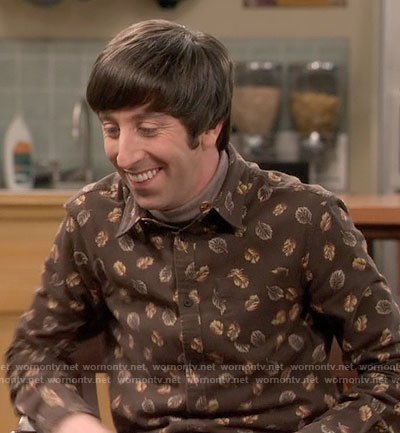 Howard's brown leaf print shirt on The Big Bang Theory