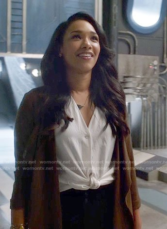 Iris's white tie-front top on The Flash