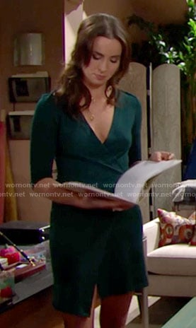 Ivy's green wrap dress on The Bold and the Beautiful
