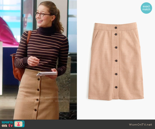 J. Crew Button-front Skirt in Double Serge Wool worn by Melissa Benoist on Supergirl