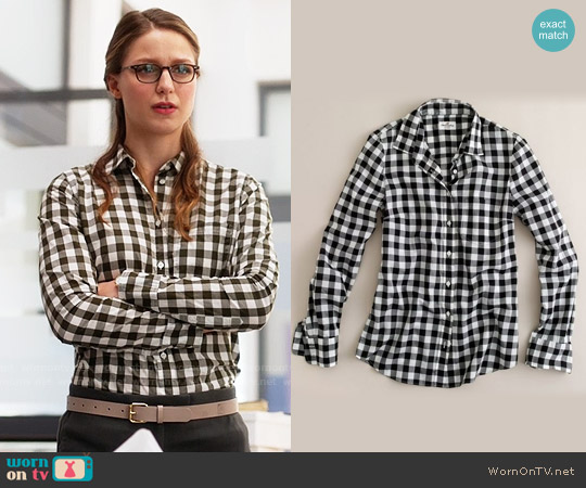 J. Crew Boy Shirt in Buffalo Check worn by Melissa Benoist on Supergirl