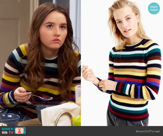 J. Crew Supersoft wool sweater in multistripe worn by Kaitlyn Dever on Last Man Standing