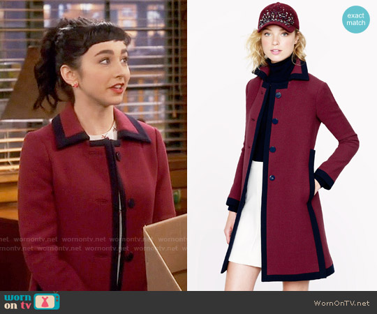 J. Crew Double Cloth Tipped Coat worn by Mandy Baxter on Last Man Standing