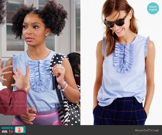 J. Crew Margot top in airy cotton piqué worn by Yara Shahidi on Blackish