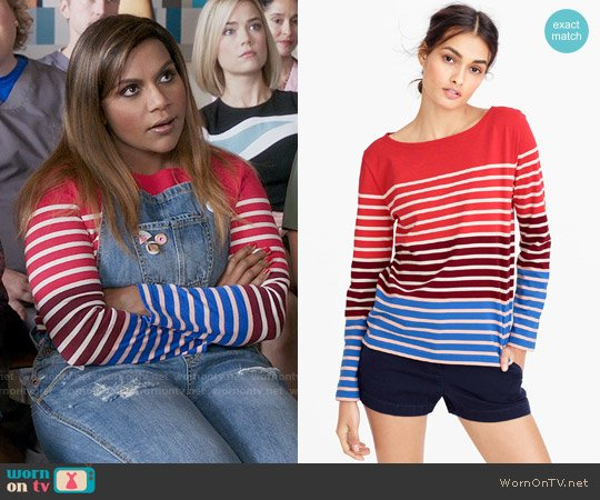 J. Crew Multistripe T-shirt worn by Mindy Lahiri (Mindy Kaling) on The Mindy Project