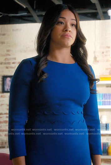 Jane's blue dress with scalloped waist on Jane the Virgin