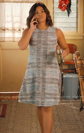 Jane's blue tweed a-line dress on Jane the Virgin